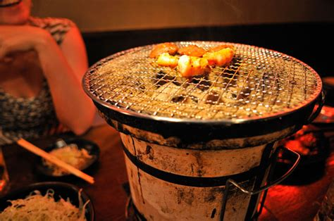 japanese grill on table grill on shichirin 171 tokyo photo japan