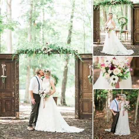 rustic vintage spring wedding with sleeveless illusion