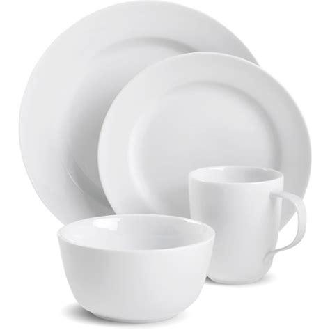 canopy round white porcelain 16 piece dinnerware set