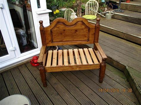 bed into bench old single bed turn into pallet garden bench 99 pallets