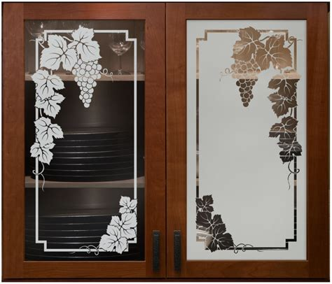 Kitchen Cabinet Door With Glass Vineyard Grapes Cabinet Glass Sans Soucie Shown Here In Both Positive And Negative Sandblast