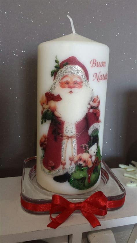 candela natale candela decorata con babbo natale per la casa e per te