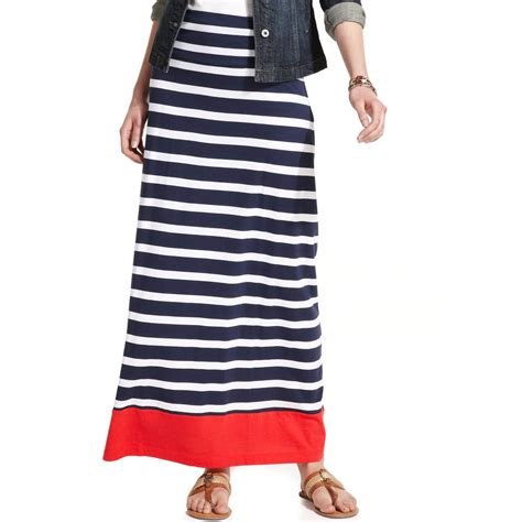hilfiger striped colorblocked ruched maxi skirt in