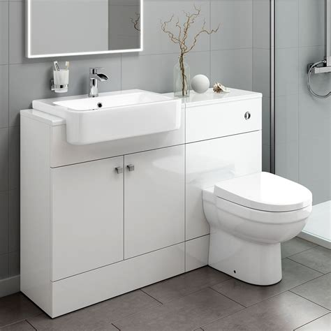 White Contemporary Bathrooms by 1160mm White Bathroom Vanity Unit Sink And Toilet