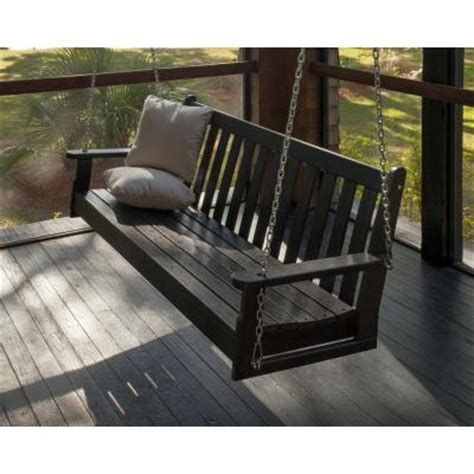 home depot patio swings polywood vineyard 60 in black patio swing gns60bl the