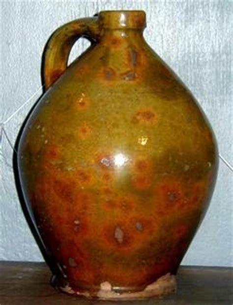 pottery galena jug ovoid green glaze strap handle 9
