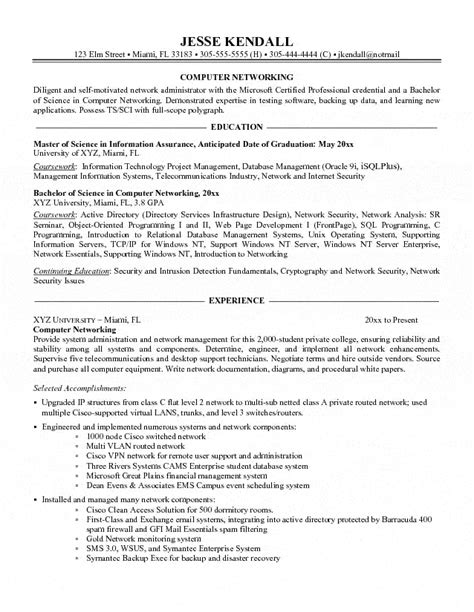Resume Format Computer Hardware Networking Engineer computer networking administrator resume