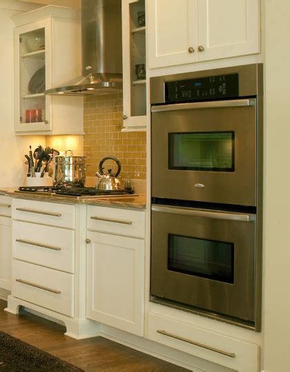 Replacing Kitchen Backsplash by Wall Oven Cabinet Built In Kitchen Appliance Cabinetry