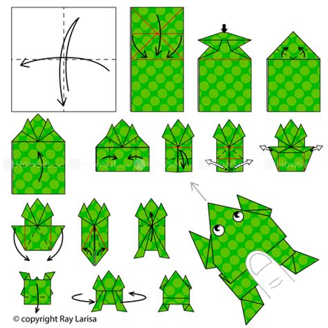 Origamy Frog - frog animated origami how to make origami