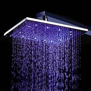 8 inch chromed brass square led shower 0913