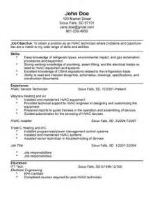 Sle Resume For Hvac Technician by Hvac Technician Resume