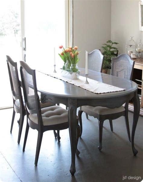 grey washed dining table makeover