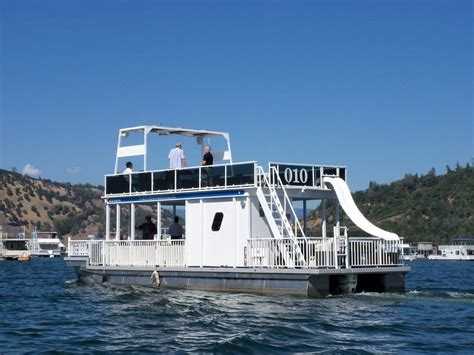 used pontoon boats with upper deck and slide for sale 44 ft patio pontoon boat has upper deck water slide