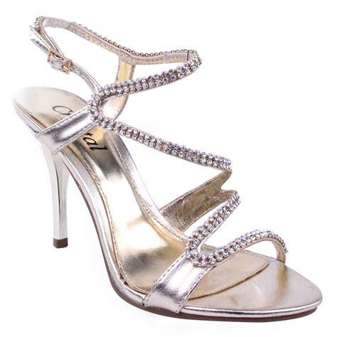 bridal strappy sandals womens prom bridal evening diamante strappy