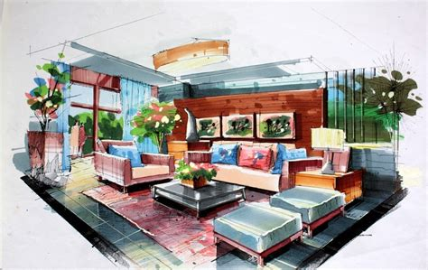 living room drawing green living room interior design by hand drawing