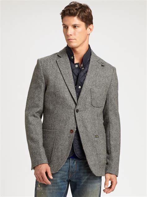 grey blazer scotch soda herringbone blazer in gray for men lyst