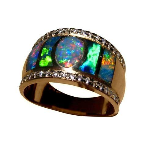 Wide Opal Diamond  Ee  Ring Ee   For Men K Mens Opal Rings