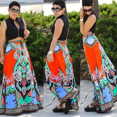 dashiki print flowing maxi skirt addicted2fashion