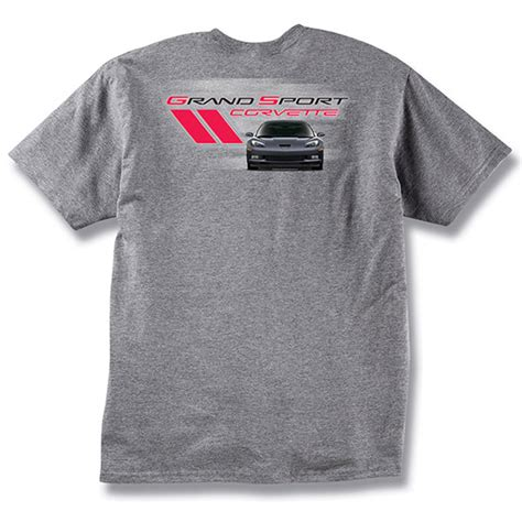 c6 corvette grand sport 2005 2013 gray logo t shirt