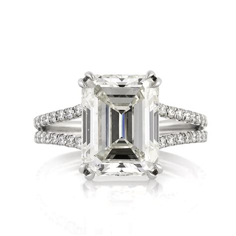 5 37ct emerald cut engagement ring anniversary