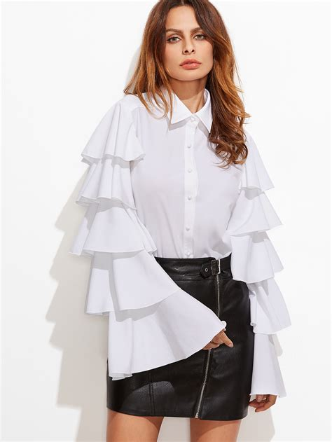 Bell Sleeve Blouse white button up layered bell sleeve blouse makemechic