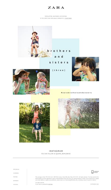 zara brothers and lookbook email newsletter design email marketing 바다