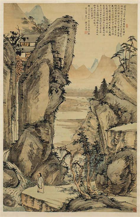large chinese scroll painting  silk gao jian