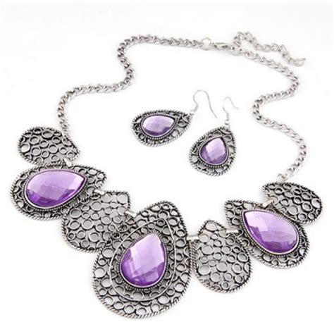 Set Kalung Anting Hollow Out Water Drop Pattern Design pleated purple hollow out water drop pattern design alloy jewelry sets asujewelry