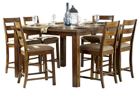 Rustic Counter Height Dining Table Sets Homelegance Ronan 7 Counter Height Table Set In Burnished Rustic Rustic Dining Sets