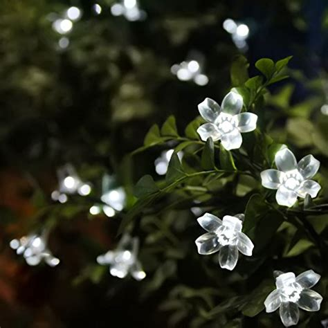 50 Led White Flower Blossom Lights Solar Powered White Flower Lights