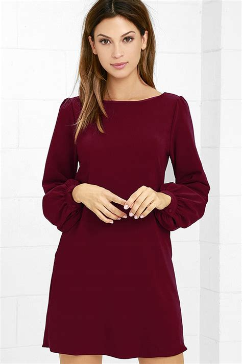 Ghaida Simple Choker Dress Maroon burgundy dress shift dress sleeve dress 38 00