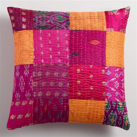 Patchwork Pillow - pink sari patchwork throw pillow world market