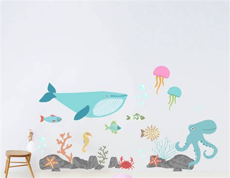 childrens wall stickers children s the sea wall sticker set contemporary