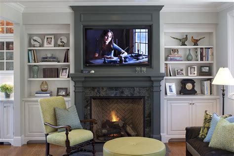 black built ins white painted fireplace mantel family room contemporary