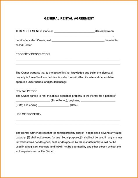 Agreement Letter For Tenant doc 722952 generic rental agreement free rental