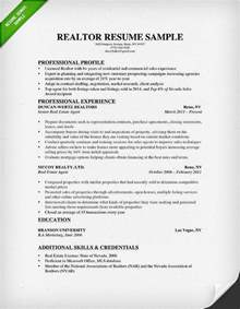 Realtor Resume Sles real estate resume writing guide resume genius