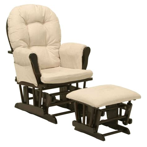 Glider Rockers And Ottomans Brand New Glider Chair With Arm Cushions And Ottoman In Espresso Beige Ebay