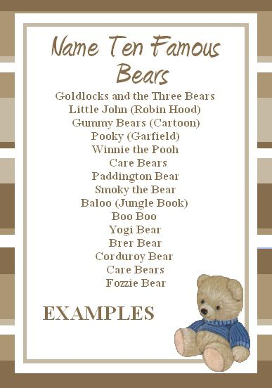 free teddy bear game famous bears name game
