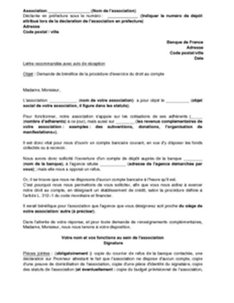 Demande De Relevé Bancaire Lettre Lettre De Demande D Ouverture D Un Compte Bancaire Par Une Association 224 La Banque De