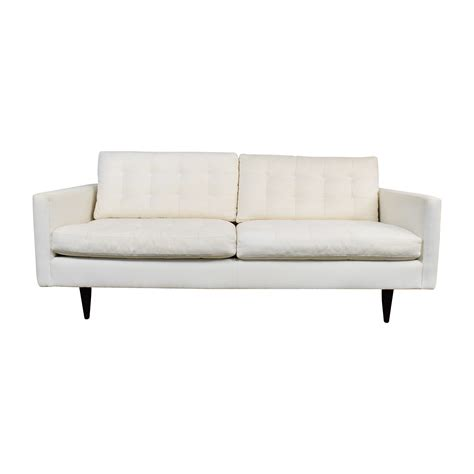 73 Off Crate And Barrel Crate Barrel White Twill Buy Tufted Sofa