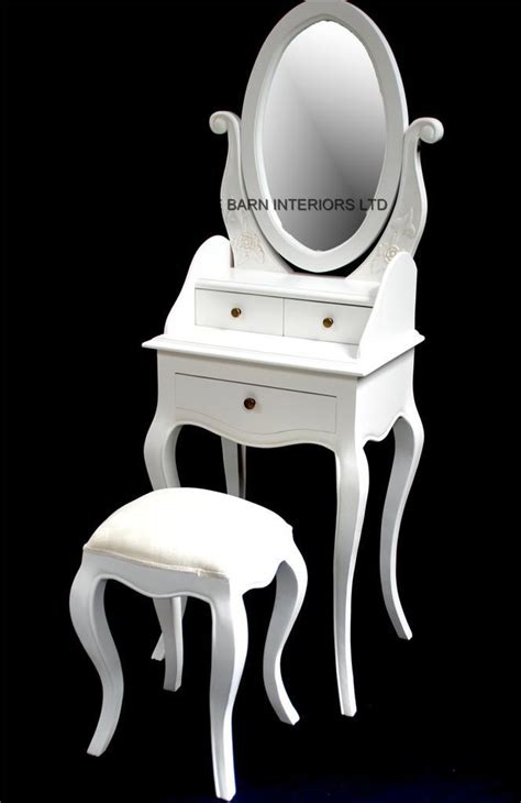 Chateau French Style Antique White Small Dressing table, includes mirror and stool   Hampshire