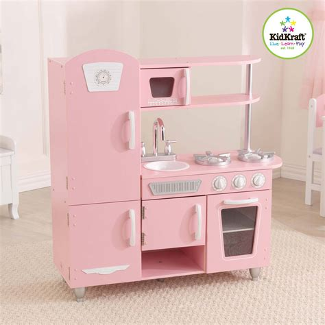 kidkraft vintage wooden play kitchen pink