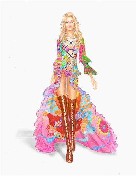 s secret fashion illustration neonscope from sketch to the s secret runway