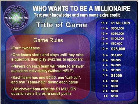 Quot Who Wants To Be A Millionaire Quot Powerpoint Review Game Who Wants To Be A Millionaire Powerpoint