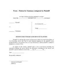 Motion For Summary Judgment Template by Best Photos Of Exle Of Court Motion Form Criminal