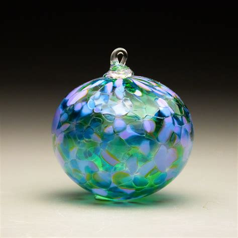 Handcrafted Glass Ornaments - made blown glass ornament in tones of lavender