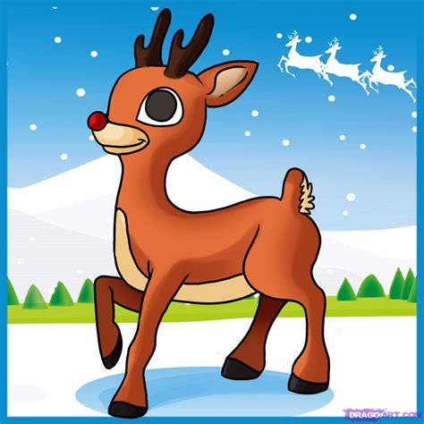rudolph the nosed reindeer how to draw rudolph the nosed reindeer step by step