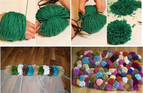 como hacer una alfombra casera  pompones de lana realizando manualidades  ninos