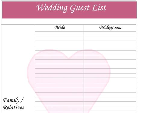best wedding guest list template 30 free wedding guest list templates templatehub