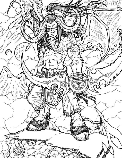 illidan stormrage lineart by rizyukaizen on